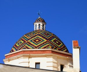 Dome of San Michele, symbol of the of Alghero, Sardinia, Italy